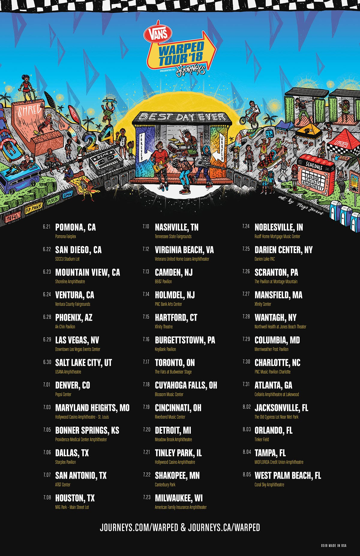 Tour Dates - Vans Warped Tour 2018